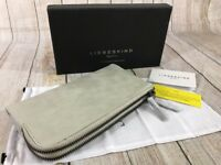 LIEBESKIND Berlin Alex Dual Zip Wallet Metallic Suede Ivory PERLMUTT NEW IN BOX