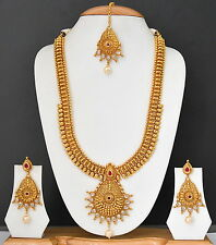 Indian Bollywood Gold Plated Traditional Bridal Jewelry Necklace Set for women