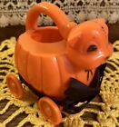 Vintage Halloween Hard Plastic Cat & Pumpkin Toy Candy Container Tico Rosbro 50s
