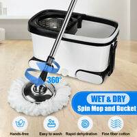360°Spin Rotating Mop Stainless Steel Bucket Microfiber 2 Mop Head Wheel US