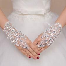Weiss Spitze Pailletten Strass Braut Fingerless Hochzeit Abend Handschuhe