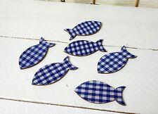 8 Fische Holz Streudeko blau Konfirmation Klebepunkt Karten basteln Fisch