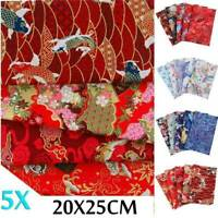 5PCS DIY 100% Cotton Fabric Flower Printed Assorted Pre-Cut Bundle 25x20cm Set
