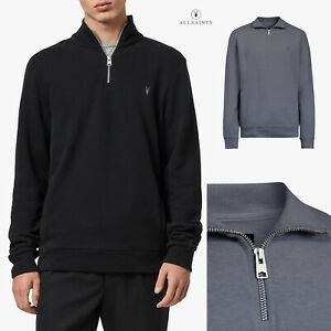 All Saints Mens Half Zip Funnel Neck Designer Pullover Sweatshirt Sweater Jumper