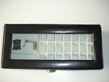 Davidts Black Leather Glass Lidded Jewellery Box