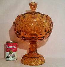 """LARGE 12.5"""" vtg amber compote art glass moon & stars candy bowl apothecary jar"""