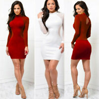 US Women Sexy Club Mini Dress Long Sleeve Bandage Bodycon Evening Party Cocktail