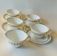 Corelle Butterfly Gold 4 Vintage Cups And Saucers, Plus Creamer