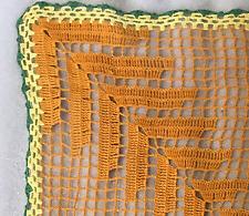 Crochet Doilies Handmade Lace Square Coaster Orange