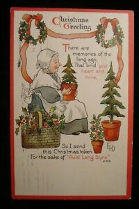 1911 ARTIST SIGNED ETHEL DEWEES CHRISTMAS PC ERNEST NISTER DANVILLE TO SPARTA IL