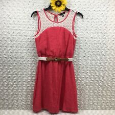 As U Wish Womens Belted Lace Neckline Dress Size S Sleeveless Pink cr3417