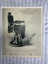 1910 Vintage CONGRESS #146 HYDRAULIC White OAK Reclining Barber Chair Sign Ad