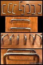 8 Handles Pulls Bar Bright Silver Cabinet Drawer U Shape Mid Century Vintage