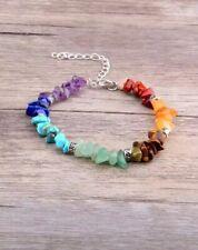 Chakra Crystal Chip And Silver Gemstone Bracelet - Healing Rainbow Natural Stone