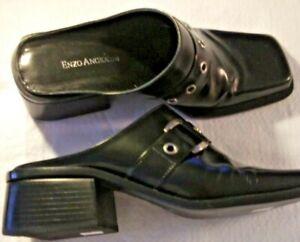 Enzo Angiolini axil buckle black leather mule women 2-inch heel  size 7.5 M