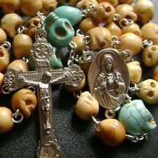 Oxen Bone Skull Bead 5 DECADE Vintage ROSARY RELIC Cross catholic necklace