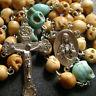 Oxen Bone Skull Bead 5 DECADE Vintage ROSARY RELIC Cross catholic necklace