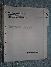 Harman Kardon hk200xm hk 200xm service manual original repair book stereo tape