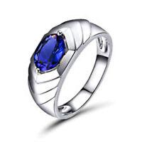14K Solid White Gold Natural Tanzanite Gemstone Men's Ring Jewelry