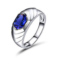 14K Solid White Gold Natural Tanzanite Gemstone Men's Ring Jewelry
