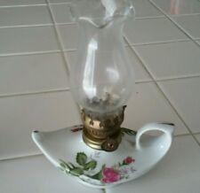 Vintage Oil Finger Lamp Porcelain Lantern Pink Rose Chic Twin Genie
