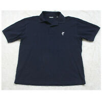 Ashworth Navy Blue Polo Shirt Short Sleeve 2-Button Small Cotton Mens Mans Top