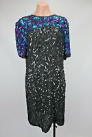 Vtg LAURENCE KAZAR Black Pink Gatsby Party Beaded Sequin Evng Gown Dress Silk XL