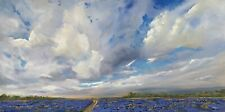 ORIGINAL SIGNED ART OIL PAINTING LANDSCAPE CLOUDSCAPE FLOWER MEADOW BLUEBONNETS