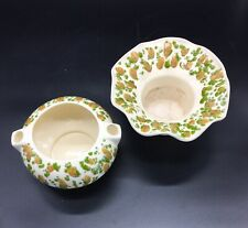 Vintage African Violet 2 Piece Self Watering Planter Pot Set Hand Painted Be