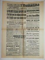 N669 La Une Du Journal L'humanité 30 avril 1945 Mussolini jugé