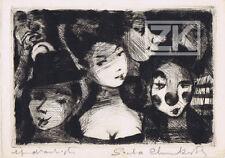 SACHA CHIMKEVITCH Jazz GRAVURE Epreuve d'artiste SIGNEE Clown Veux 1961