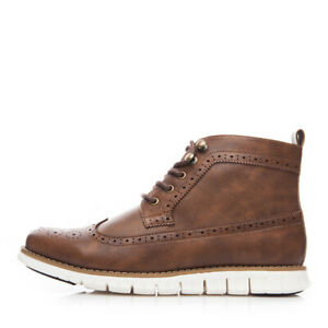 Men's Ankle Leather Boots High Top Oxford Flat Lace Up Casual Formal Dress Shoes