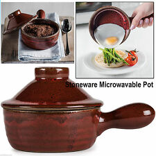 MICROWAVE STONEWARE HOT POT KITCHEN CERAMIC COOKWARE STEAM REALISING LID DISH