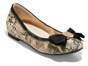Cole Haan Women 6.5 Tali Roccia Snake Leather  Ballet Flats Black Beige Bow NEW