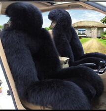 1pc Black Real Australian Sheep Skin Car Long Wool Front Seat  Fits Most Cars AU