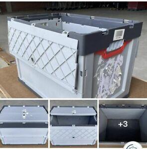 Auer Klappbox Faltbox grau mit Deckel / 10 Stück