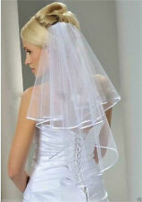 White Bridal Wedding Veil 2 Tier with Comb Handmade Elbow Length