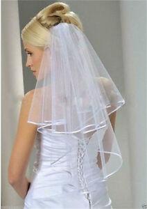 White Bridal Wedding Veil 2 Tier with Comb Handmade Elbow Length