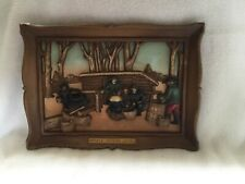 "Vintage 1970s Homoco Syroco 3-D Wall Hanging Plaque ""Maple Sugar Time"" 14"" x 10"""