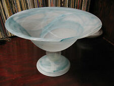MURANO  VENETIAN  ART  GLASS  BOWL MATTE w BLUE  VEINS VINTAGE  LOVELY!!!