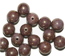 Mauve Picasso Round Czech Pressed Glass Beads 10mm (pack of 16)