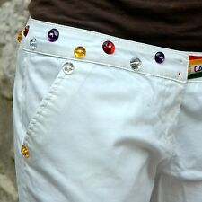 GAS JEANS Pantaloni di cotone bianchi con nastri di raso colorati e strass sz 44