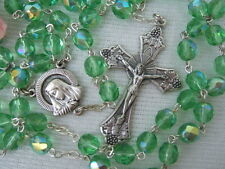Catholic Rosary LIME GREEN 7mm AB glass beads Italy nice Crucifix medal