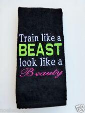 Embroidered Hand Workout Towel Train like a Beast look like a Beauty
