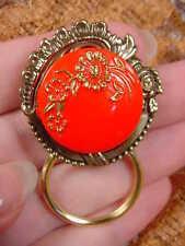#E350) Red gold flowers Czech Eyeglass BRASS pin pendant ID badge glasses holder