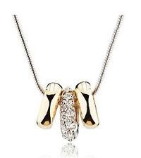 Elegantes Silber vergoldet Kreise Strass mattiert Charms Anhänger Halskette N163