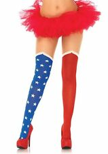 Sexy Red White Blue Stars Hero Faux Thigh Boot Tights Hose Wonder Woman Comic