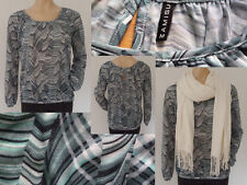 Amisu Set Girl Shirt Bluse Langarm Retromuster grün M 38  Paschmina Schal weiss