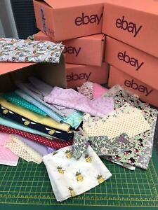 SCRAP BOX 100% Cotton Fabric, off cuts, mixed colours & sizes 700g per order NEW