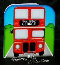 PERSONALISED BIRTHDAY CARD/BIG RED BUS/CHILD/SON/GRANDSON/NAME/AGE